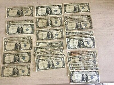 Lot Of 28 1957 Silver Certificate Dollar Bills - Blue Seals - Various Condition