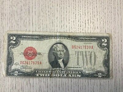 Series of 1928-F Red Seal $2 U.S. Bank Note TWO DOLLAR BILL - Off Center Miscut