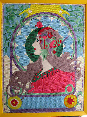 Vintage Completed Needlepoint Tapestry Art Deco Nouveau Portrait Wall Hanging