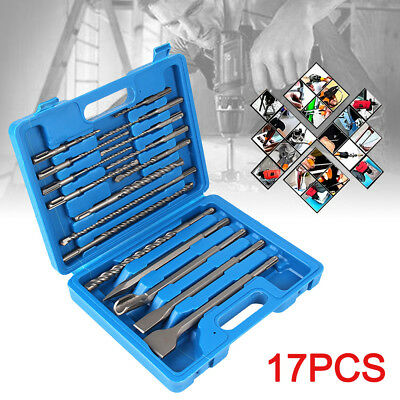 17Pcs Drill Bits & Chisel SDS Plus Rotary Hammer Bit Masonry Set In Storage Case
