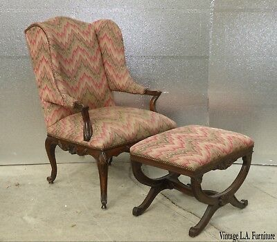 Vintage Wingback French Provincial Papa Bear Style Rose Accent Chair & Ottoman