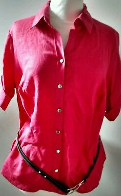 MS linen blouse hot pink short sleeves belt Labels Attached Sz 16 stunning