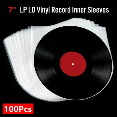 100Pcs 7'' 3Mil Antistatic Clear Plastic Cover Inner Sleeves For LP Vinyl Record