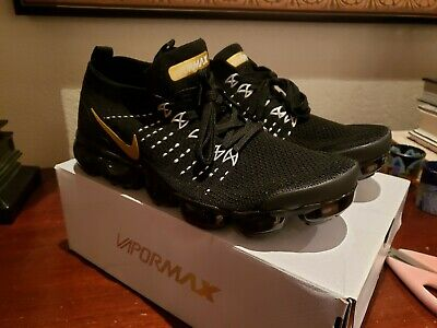 Nike Air Vapormax Flyknit 2 Black White Stiching Gold Stripe Men's 9.5