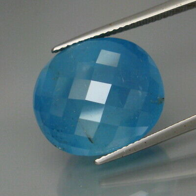 22.14Ct.Ravishing Color! Natural HUGE Blue Aquamarine Brazil Oval Checkerboard