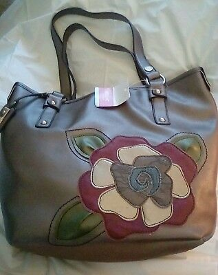 RELIC Metallic Large Purse Tote Bag with Large Flower Accent - MSRP  64 -  NWT 4b5332c61d90e
