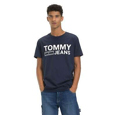 Tommy JEANS Uomo Essential Tape Regular Fit Men T-shirt Top dm05559 NUOVO BIANCO