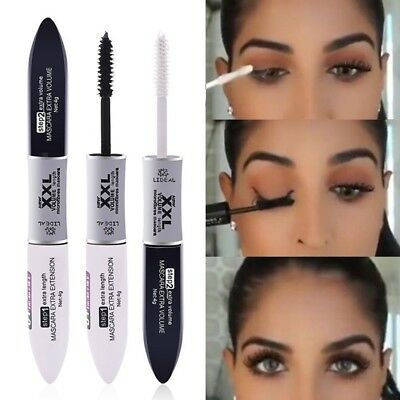 2in1 Waterproof Makeup 4D Silk Fiber Long Curling Volume Black Eyelash Mascara