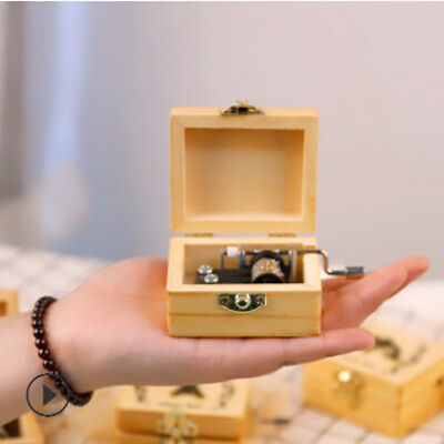 Styles Engraved Wooden Hand-cranked Music Box Theme Collectable Toys Kid Gift SW