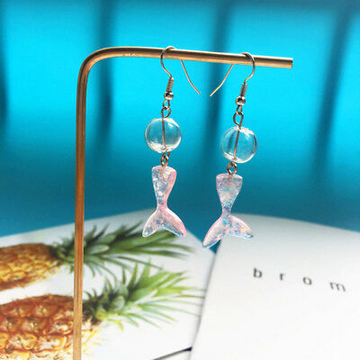 Mermaid Tail Glitter Transparent Bead Hook Dangle Pierced Earrings Gift SW