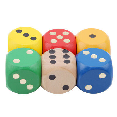 6 Pcs Large 6 Sided Dice Set Table Games Kids Adults Children Home Activity SW