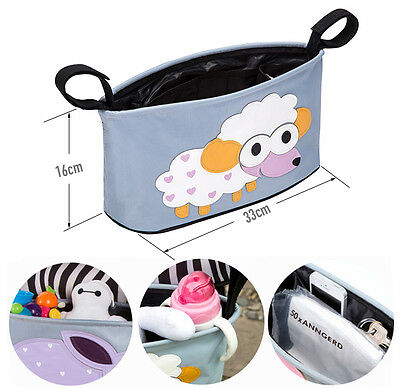 Cute Animals Pram Organizer Bag with Cup Holder for Baby Pushchair Stroller