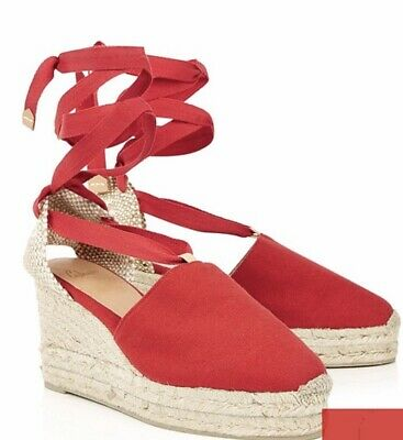 736494242e0 Castaner Campesina Espadrille Lace Up Red Wedge Shoes Eu Size 40 Uk Size 7