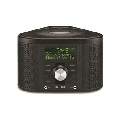 Pure Chronos Series 2 DAB/FM Stereo Alarm Clock Radio with CD Player, UK - Black