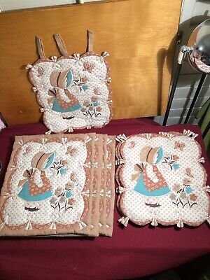 7Pc Vintage Homemade Reversible Country Pattern Place Mats