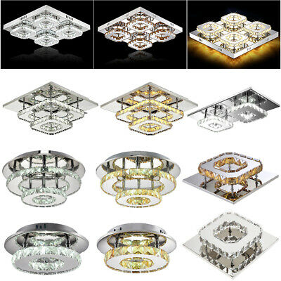 Modern Crystal Ceiling Light LED Pendant Lamp Flush Mount Chandelier Fixture 48W