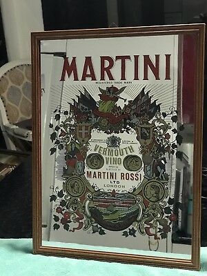 Vintage Martini Rosso Vermouth Bar Mirror 33cm x 43cm Good Condition