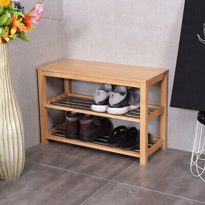 3 Tier Wooden Shoe Rack Storage Bench Space Saving with 2 Shelves Organizer Seat