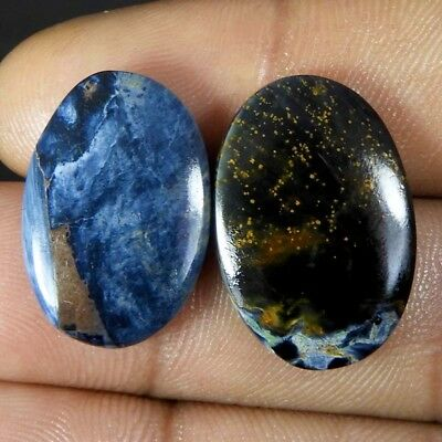 18.10Cts. 100% Natural Blue Pietersite Matched Pair Loose Gemstones