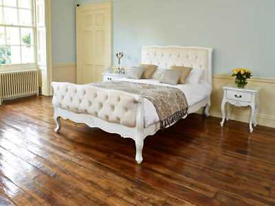 King size bed French Rococo style Painted and upholstered to order in the UK