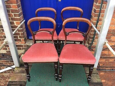 Victorian antique Mahogany dining chairs 4. Lovely Solid Heavy Set .balloon Back