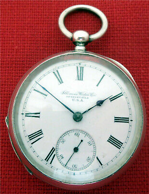 Antique Rare1891 Model1 Size12 Illinois Watch Company Usa Silver Kw Pocket Watch