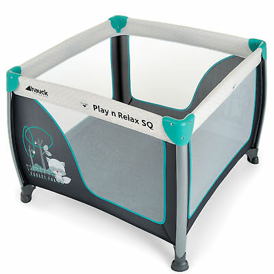 Hauck Play N Relax Large Square PLAYPEN - Forest Fun TRAVEL COT SQUARE 90 x 90cm