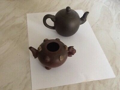Two Chinese Clay Teapots, small decorative and very old