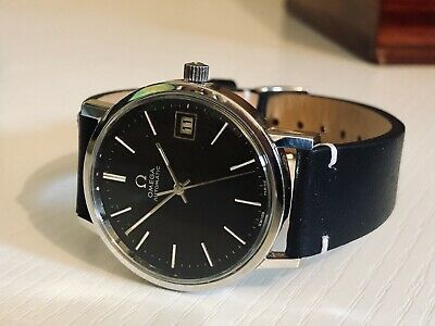 Omega 1970s vintage Ryan Gosling style black dial steel Automatic watch + Box