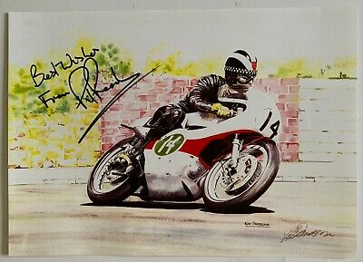 Phil Read Hand Signed Yamaha Poster Painting MotoGP, Isle of Man TT.