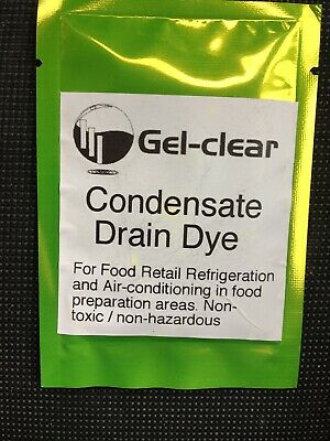 Gel-clear condensate drain dye for air conditioning/refrigeration systems