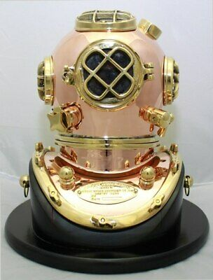 Deluxe Mark V Dive Helmet With a Wooden Base, 10