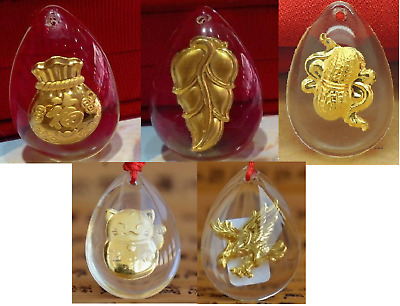 5pcs Hot Sale New Real 24k Gold With Crystal Unisex Lucky Pendant 30x20mm