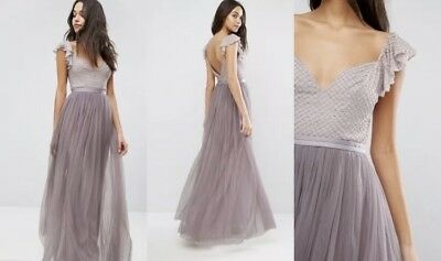 7876ae522a8 New Needle   Thread Swan Tulle Midi Dress With Frill Sleeve Size UK 14 US 10