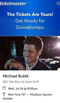 2 Tickets Section 104 Michael Buble 7/24/19 Madison Square Garden New York, NY
