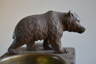 ⭐Antique black forest bear with match holder and brass ashtray,hand carved wood