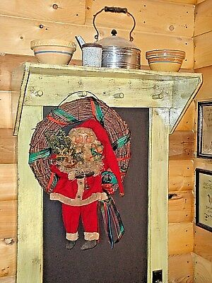 Primitive Ooak homemade santa doll wreath