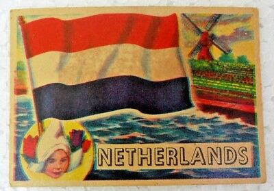 Vintage Netherlands 1956 Topps Flags Of The World Printed In England Collectible