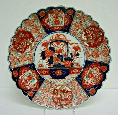Large Antique Japanese Imari Porcelain Charger Plate w/ Scalloped Edge 13.5""