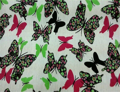 Large Butterfly Patterned Cotton Dress Fabric