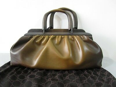 Gucci By Tom Ford Made In Italy Brown Leather Doctor Bag With Wood Handles