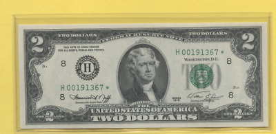 1976 $2 Two Dollar Bill Key St Louis H  Star Note Gem Mint Low Number