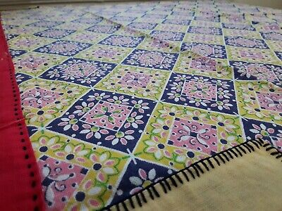 Beautiful Vintage Pink Red Yellow Design Table cloth Antique Small 34.5x34.5