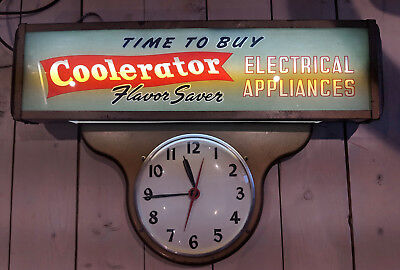 Ohio Advertising Company Vintage Clock Works And Looks Great  Coolerator Fridge