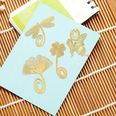 Gold Plated Hollow Animal Feather Bookmarks Book Magazine Accessories 2pcs NS