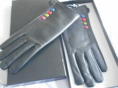 Stunning Black Fleece Lined Leather Gloves With Multi-Coloured Studs Bnib!!!