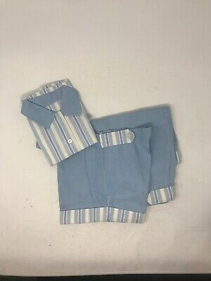 Vintage 1940s Boys 3 Piece Striped Outfit Sleeveless Shirt Pants & Shorts Blue