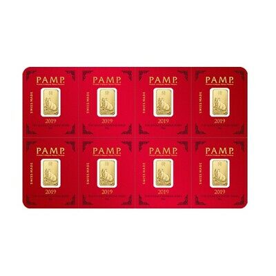 8x1 gram Gold Bar PAMP Suisse Lunar Pig Multigram+8 (In Assay)