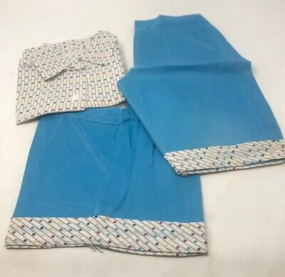 Vintage 1940s Girls Boys 3 Pc Polka Dot Outfit Shirt Pants and Shorts Blue NOS