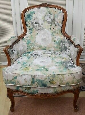 Antique French Style Louis Xv Upholstered Walnut Fauteuil/ Bergere Armchair